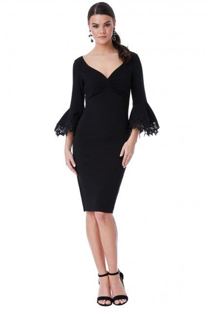 Čierne midi šaty s krajkovanými rukávmi