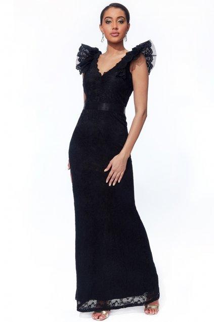 Čierne čipkované priliehavé šaty