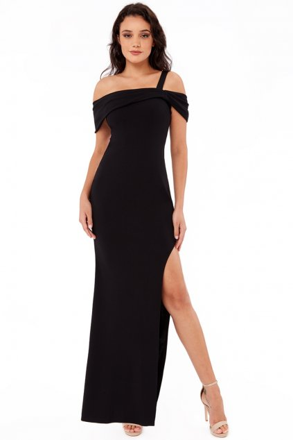 Čierne priliehavé šaty s vysokým rozparkom