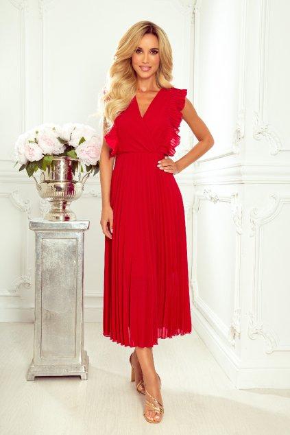 Tmavočervené midi šaty so skladanou sukňou
