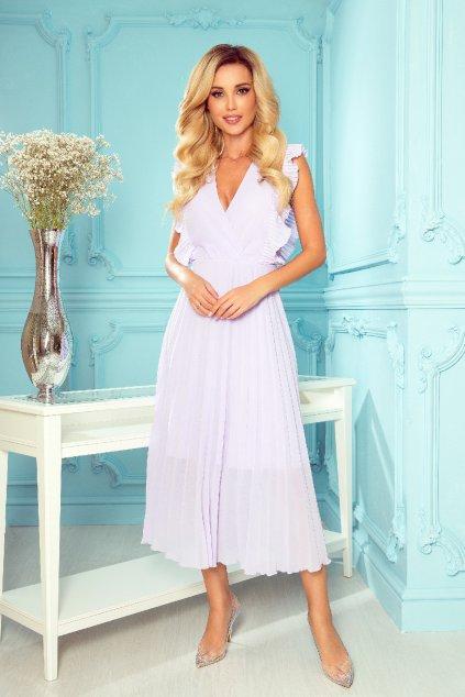 Fialové midi šaty so skladanou sukňou