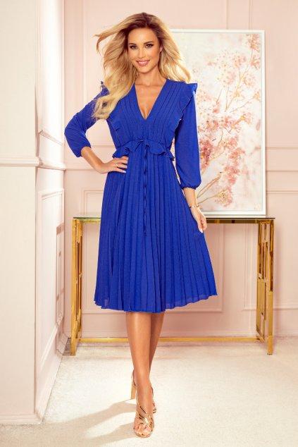 Modré midi šaty s volánikmi a rukávmi