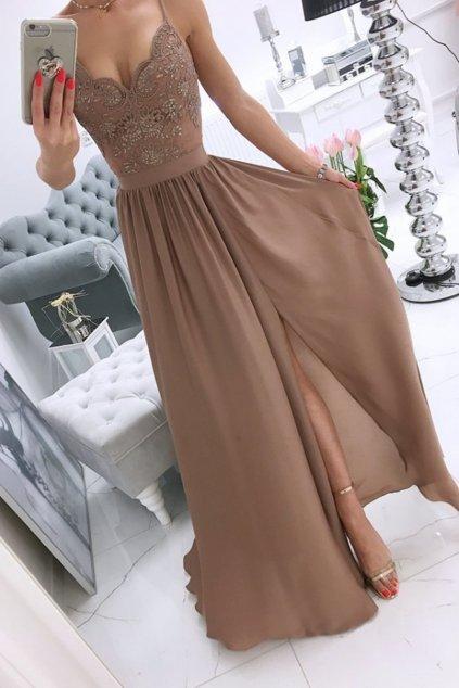 Hnedé spoločenské šaty s flitrami a saténovou sukňou