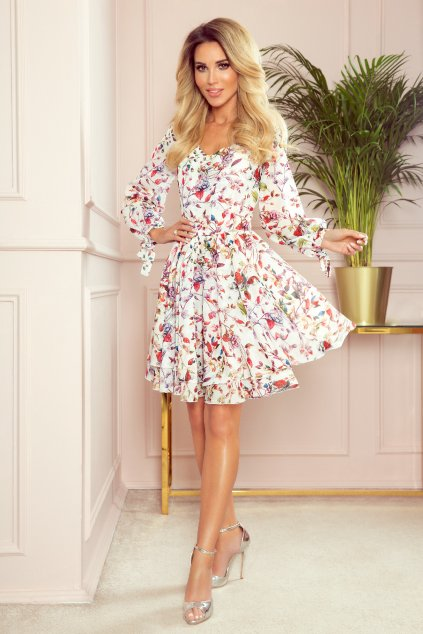 Biele kvetinové šaty s áčkovou sukňou