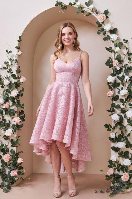 Ružové spoločenské asymetrické šaty s krajkou