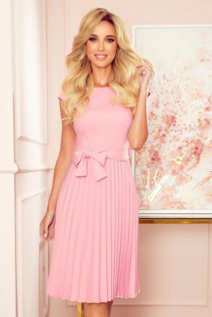 Ružové midi šaty so skladanou sukňou