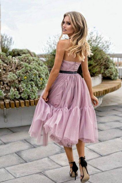Ružové tylové midi šaty