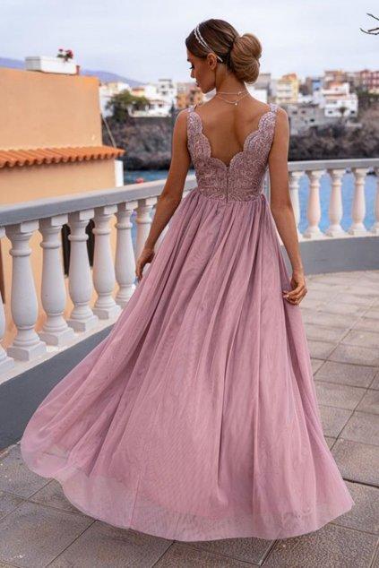 Ružové spoločenské šaty s tylovou sukňou a rozparkom