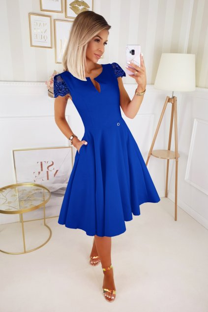 Modré spoločenské midi šaty