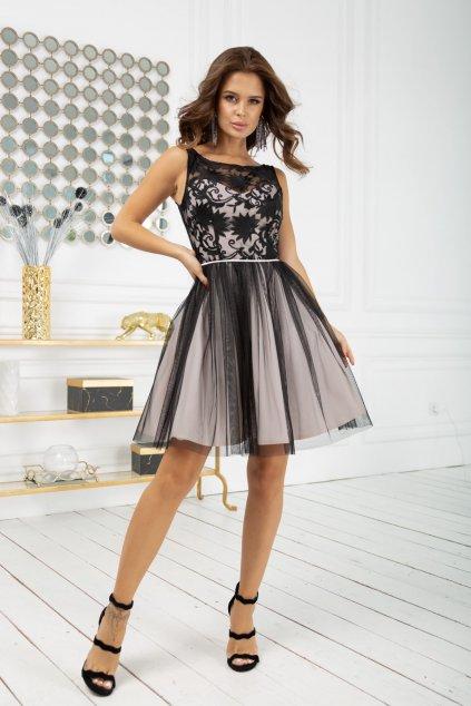 Čierno-krémové krátke šaty s vyšívanými kvetinkami