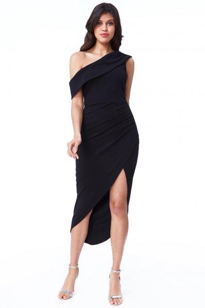 Čierne priliehavé asymetrické šaty