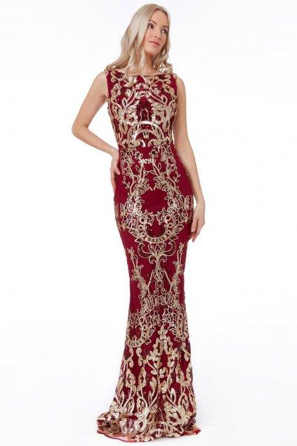 Bordovo-zlaté spoločenské flitrované šaty