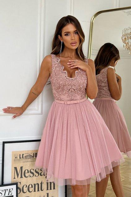 Staroružové krátke spoločenské šaty s krajkou