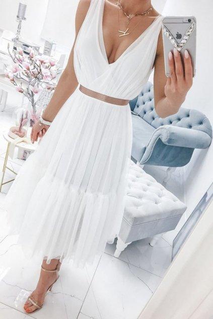 Biele tylové midi šaty