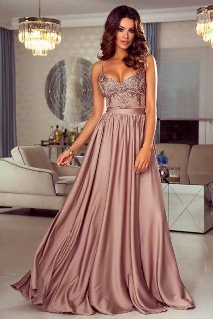 Staroružové spoločenské šaty s flitrami a saténovou sukňou