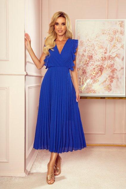 Modré midi šaty so skladanou sukňou