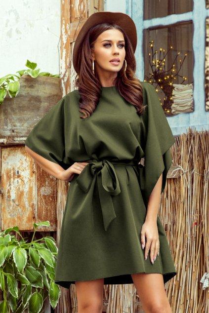 Olivové krátke šaty s voľnými rukávmi