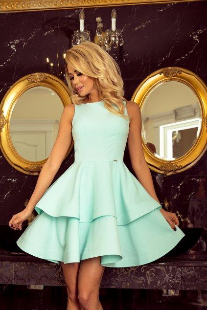 Mentolové mini šaty s áčkovou sukňou