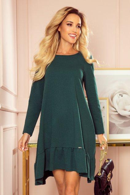 Smaragdové krátke voľné šaty