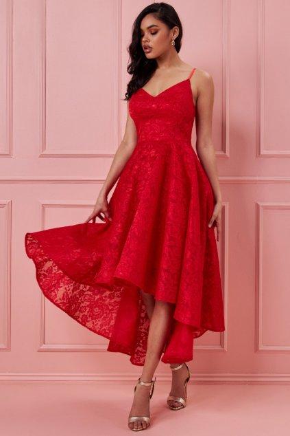 Červené spoločenské asymetrické šaty s krajkou