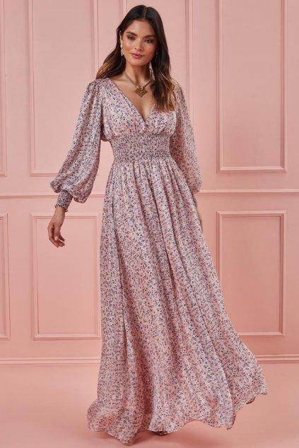 Staroružové kvetinkové šaty s dlhými rukávmi