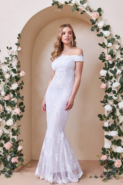 Biele flitrované šaty spustené na ramená