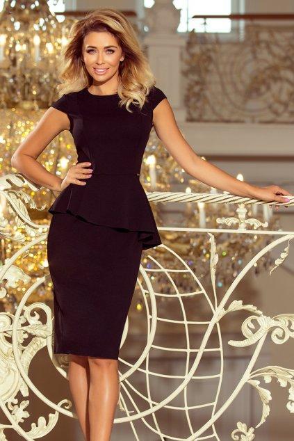 Čierne midi šaty s peplum volánom