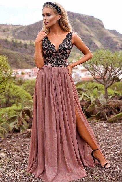 Staroružové spoločenské šaty s tylovou sukňou a rozparkom