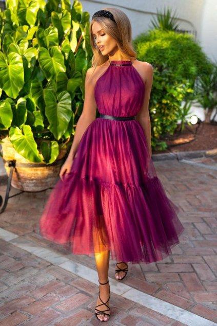 Malinové tylové midi šaty