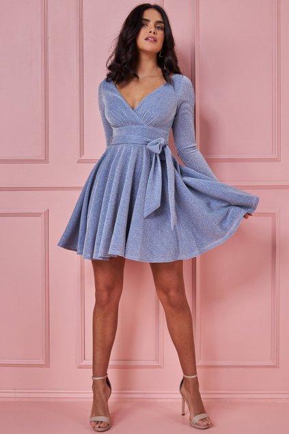 Modré trblietavé mini šaty s rukávmi