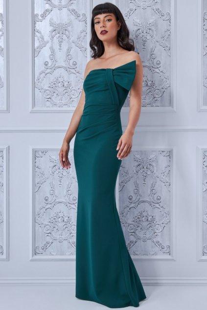 Zelené priliehavé šaty s odhalenými ramenami