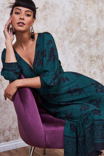 Zeleno-čierne vzorované midi šaty