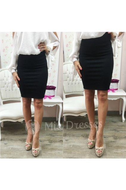 Čierna sukňa s vysokým pásom