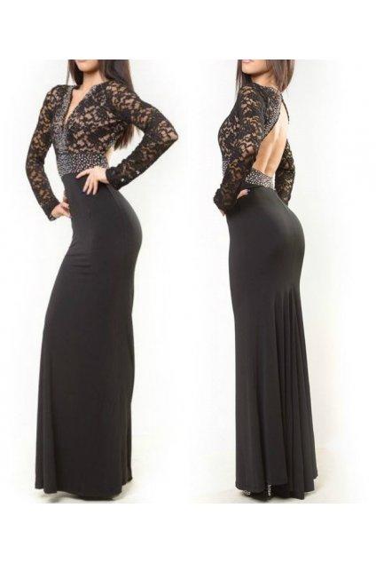 Čierne šaty vyzdobené kamienkami s čipkovaným vrchom
