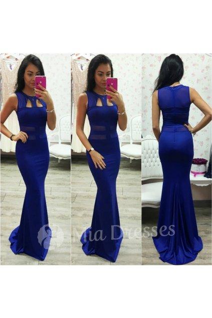 Modré dlhé šaty s výrezmi