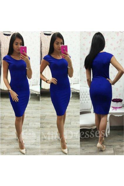 Modré priliehavé šaty