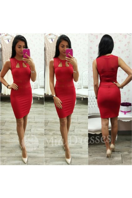 Červené krátke šaty s výrezmi