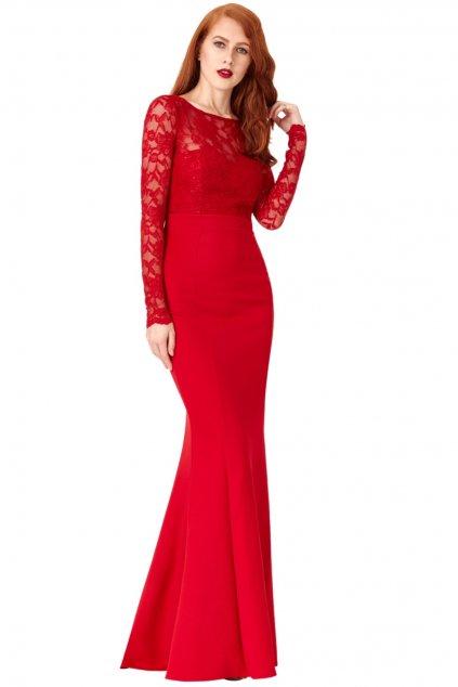 Červené dlhé šaty s mašľou