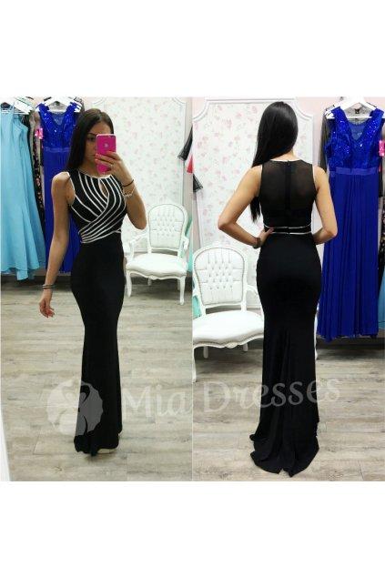 Čierne spoločenské šaty so striebornými pásmi