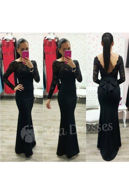 Čierne dlhé šaty s mašľou