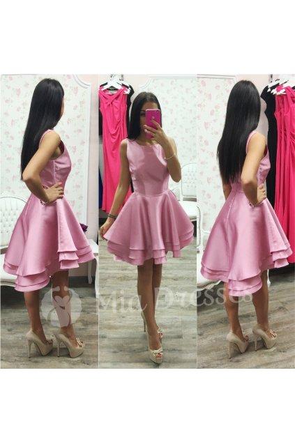 Ružové spoločenské asymetrické šaty
