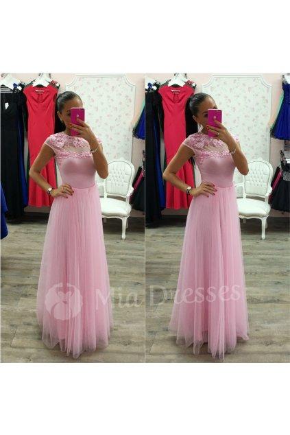 Ružová dlhá tylová sukňa