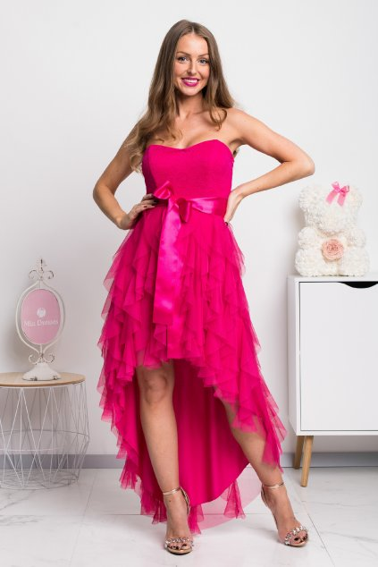 Cyklaménové asymetrické šaty so stuhou