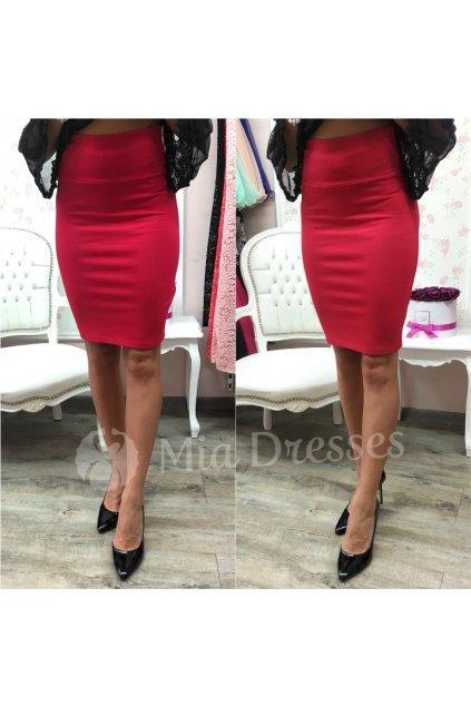 Červená sukňa s vysokým pásom