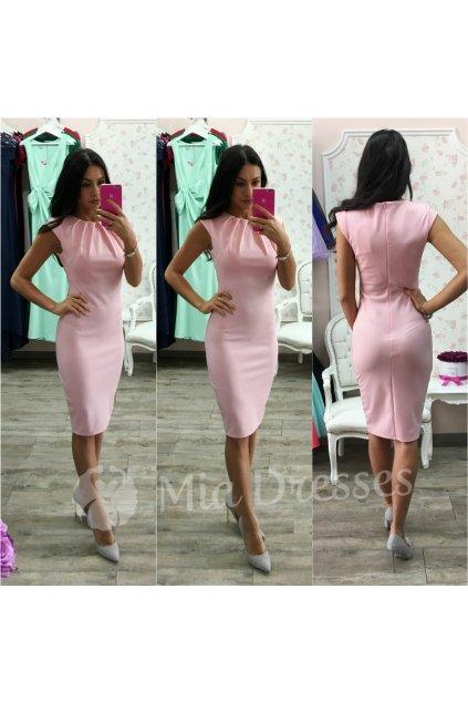 Ružové priliehavé midi šaty