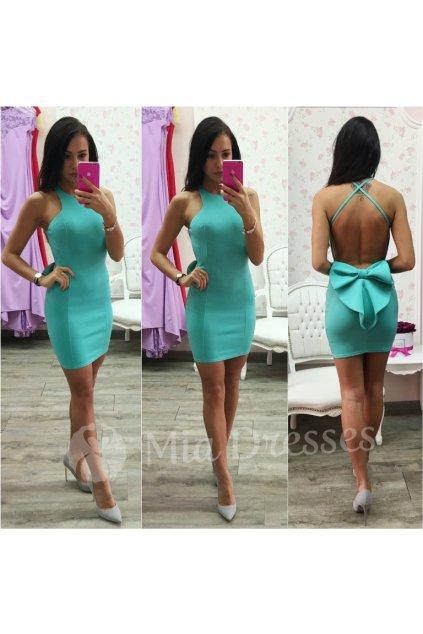Mentolové krátke šaty s mašľou