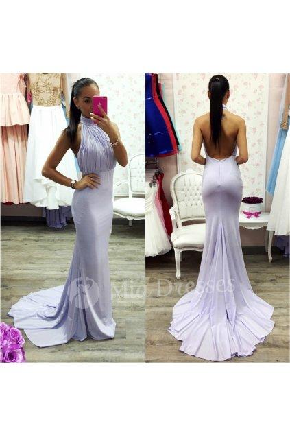 Fialové spoločenské šaty s vlečkou
