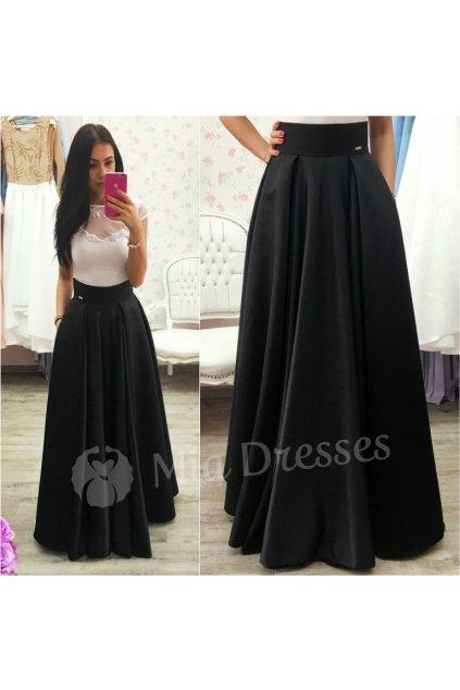Čierna dlhá saténová sukňa