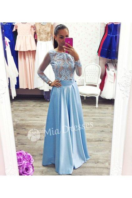 Svetlomodrá dlhá saténová sukňa