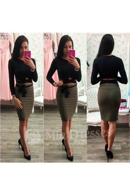 Khaki sukňa s vysokým pásom